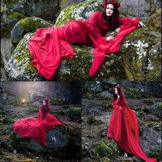 Wholesale Bridal Gowns - Buy Enchanted Evermore Red Chiffon Dracula Bride Gown Wedding Dresses with Long Sleeves Angel Wings Scoop Neck Flowing Sweep Train Bridal Dress, $134.87   DHgate