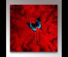 Butterfly Canvas Art   Red Art   Abstract Art   Canvas Art Print   Butterfly Decor   Goth Decor   Butterfly Art   Insect Art   Modern Art