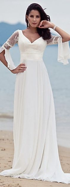 Cheap wedding dress with coat, Buy Quality wedding dress crafts directly from China dress bubble Suppliers: New 2016 Pincess Beach Wedding Dress Ivory Sweep/Brush Train V-neck Flare Sleeve Chiffon Plus Size Robe De Mariage Wedding Dress Train, Classic Wedding Dress, Casual Wedding, Wedding Gowns, Wedding Dress Over 40, Elegant Wedding, Elegant Bride, Backless Wedding, Timeless Wedding