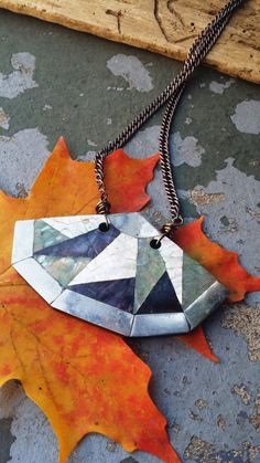 Geometric Abalone Statement Necklace by bymichelemohr on Etsy