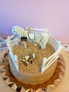 Fondant horse and little goat birthday cake.