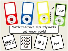 $3.00 Numbers 0-20 Math Center: MP3 Match!  Match number words, tally marks, sets, and ten frames!