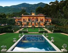 That pool-to-home walk though might be a little strenuous. Villa Beaumont, an Italian-Renaissance country villa in Santa Barbara by Sorrell Design based on the work of the great architect Giacomo Barozzi da Vignola Houses Architecture, Architecture Design, Versailles, Italian Villa, Big Houses, Foyers, Home Living, My Dream Home, Dream Homes