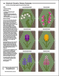 Ravelry: Hexipuff Charts: Spring Flowers pattern by Jennifer Fabian: Meant for quilting, but could be used as a chart for crocheted squares. Knitting Charts, Knitting Stitches, Knitting Patterns, Crochet Patterns, Cross Stitch Flowers, Cross Stitch Patterns, Crochet Chart, Knit Crochet, Fair Isle Knitting