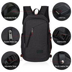 NEW Black Backpack Laptop Slim Bag Anti theft w/ USB & Earphone Port Work Colleg #Kbrand
