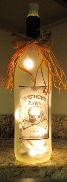 """A lighted wine bottle from Etsy (which would have been way cuter if the person who made it had spelled the word """"witches"""" right...)"""