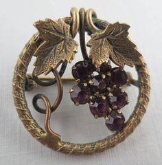 Vintage Antqiued Goldtone Amethyst Rhinestone Grape Cluster Brooch