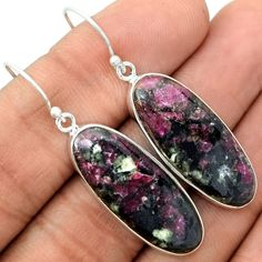 Eudialyte 925 Sterling Silver Earrings Jewelry EDLE16 - JJDesignerJewelry