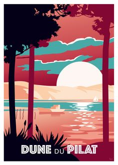 A vintage look for this illustration of the famous Pilat dune, the highest dune in Europe! Poster available in different formats. Very nice prints on paper. Design and edition in the Bordeaux region, made in France. Retro Poster, Poster S, Vintage Artwork, Vintage Travel Posters, Poster Prints, Art Prints, Posters Decor, Art Deco Posters, Surf Vintage