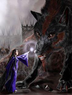 Lúthien enchants Carcharoth by Dan Staten