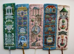 Textile Heritage Gardens cross stitch bookmarks Pt 2. L-R: Classical,Cottage,Georgian,Medieval Herb,Victorian.