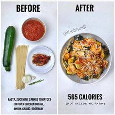 Want a healthy recipe hack? Add extra veggies like zucchini to a pasta dish for . Want a healthy recipe hack? Add extra veggies like zucchini to a pasta dish for extra volume while still watching your portion on the… Healthy Meal Prep, Healthy Eating, Healthy Recipes, Healthy Food, Fruit Recipes, Clean Eating Recipes, Cooking Recipes, Good Food, Yummy Food