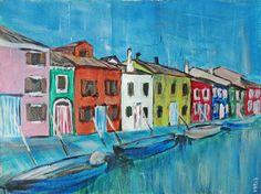 Bunte Häuser (2), Acryl auf Aquarellpapier, 40 x 30 cm, 2015 Folk Art, Colorful Houses, Painting, Popular Art