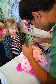 UC Davis Children's Hospital patients received new cuddly friends, when Build-A-Bear Workshop hosted an event in the pediatric playroom. It was the second year in a row that patients received a visit from Build-A-Bear Workshop in Roseville.