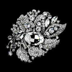Ring Pillow with Silver Clear Crystal Leaf Brooch