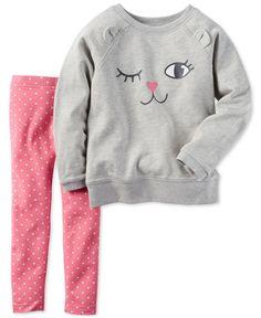 Carter's Toddler Girls' 2-Pc. Cat Top and Pants Set