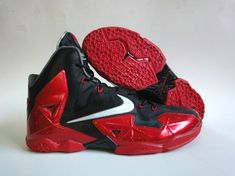 30dfc52addb Nike LeBron 11 Miami Heat Black Hot Red Nike Kicks