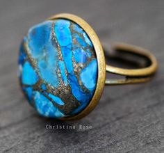 TURQUOISE Sea Sediment & Silver Pyrite Gemstone Round Natural Stone Ring Vintage Bronze or Silver Adjustable