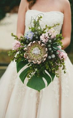 Mixed protea bridal bouquet