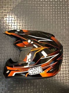 Helmet Dirt Bike A13 Comet React Black/Orange Large  #AnswerRacing #Motocross Off Road Helmets, Dirt Bike Helmets, Motocross Helmets, Bicycle Helmet, Offroad, Decal, Racing, Orange, Black