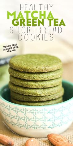 Healthy Matcha Green Tea Shortbread Cookies -- just as unique and sophisticated as they are delicious! Sweet, buttery, and seriously addicting. Youd never know these are sugar free, gluten free, dairy free, and vegan!