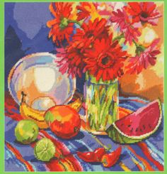 """JANLYNN COLORFUL FLORAL STILL LIFE BOUQUET """"SOUTH OF THE BORDER"""" NEEDLEPOINT KIT"""
