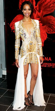 Zoe Saldana in an embroidered Balmain minidress, accessorized with diamond Neil Lane earrings and an Anita Ko ring.