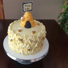 """Mommy to """"Bee"""" cake. Bee Cakes, Cupcake Cakes, Bee Birthday Cake, Bumble Bee Birthday, Birthday Ideas, Bee Hive Cake, Bumble Bee Cupcakes, Bolo Fack, Sunflower Baby Showers"""