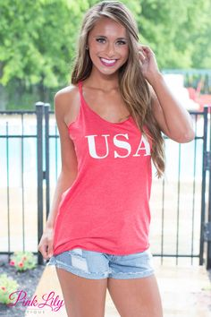 Show your patriotic pride and stay comfortable all summer long in this wonderful tank! Featuring a white USA vinyl on the center of the tank, you just need a pair of shorts and sandals to finish this awesome outfit!