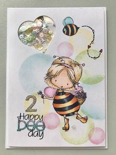 Handmade kids / children's birthday shaker card ... Tiddly Inks – Happy Bee Day ... copics ... EnchantINK