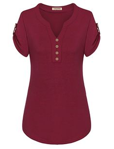 f654bed7bdc632 Larenba Cotton Henley Shirts for Ladies, Womens V Neck Short Sleeve Button  Down Stretchy Casual