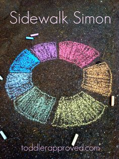 Sidewalk Simon! 10 Sidewalk Chalk Ideas That'll Keep Kids Enterained for Hours...also love #5.