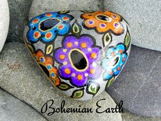 Painted Rock (Sea Stone) from Cape Cod. Bohemain Earth...tumbled in on gentle ocean waves.    Bring a piece of the shore inside... A generous