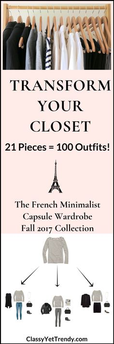 Create a French Minimalist Capsule Wardrobe: 10 Fall Outfits - Classy Yet Trendy - Transform your closet with 100 outfit ideas from 21 clothes and shoes, such as an ivory sweater, camel sweater, midi skirt, black skirt, black jeans, gray jeans, white shirt, white tee, striped top, cardigan, blazer, sleeveless vest, pumps, ankle boots, black flats and leopard mules.