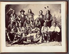 Studio portrait of Ponca Delegation. Most are wearing traditional clothing, including bear claw necklaces, feather headdresses,and peace medals. November 1877 National Museum of the American Indian identified @ link Native American Photos, Native American Tribes, Native American History, American Indians, American Life, African History, Nebraska, Oklahoma, Kansas