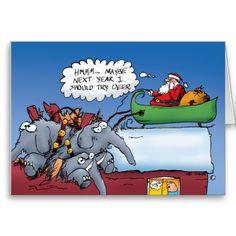 Santas Elephants Greeting Card