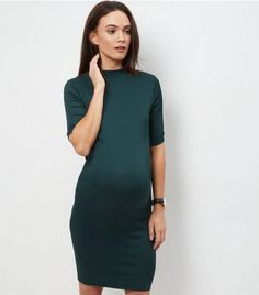 Maternity Green Funnel Neck Ribbed Dress | New Look