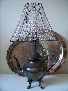 recyled teapot turned lamp