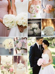 white and pink blush wedding flowers mood board