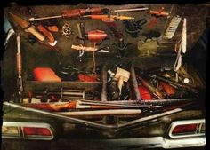Supernatural - Internet Movie Firearms Database - Guns in Movies, TV and Video Games Supernatural Impala, Supernatural Baby, Supernatural Bunker, John Winchester Journal, Sam And Dean Winchester, Baby Trunks, 1967 Chevy Impala, 67 Impala, Steampunk