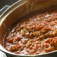 This spaghetti bolognese is made with both ground beef and pork, a little white wine, tomato sauces and simple seasonings.  Serve this tasty sauce with you favorite pasta.. Spaghetti Bolognese Sauce Recipe from Grandmothers Kitchen.