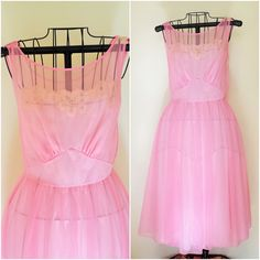Vintage Pink Nylon Nightgown / Vanity Fair by ToadstoolFarmVintage
