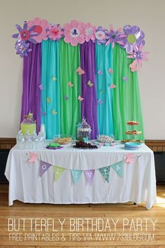 Beautiful snack & dessert table setup for a butterfly themed girls birthday party. Awesome color palette!