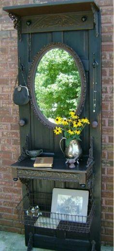 Old door repurposed for entryway.