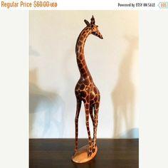 SUMMER SALE  Vintage Hand Carved Kenya Giraffe  Collectible