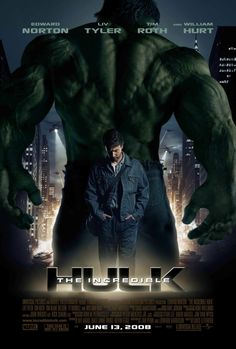 Movie Plot: Depicting the events after the Gamma Bomb. 'The Incredible Hulk' tells the story of Dr Bruce Banner, who seeks a cure to his u. Poster Marvel, Hulk Poster, Marvel Movie Posters, Spiderman Poster, Marvel Cinematic Universe Movies, All Marvel Movies, Films Marvel, Marvel Series, Captain Marvel