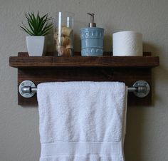 Industrial Rustic Modern Bathroom Wall Shelf with 18 by KeoDecor, $95.00