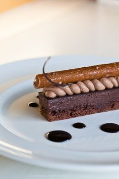 Brownie with hazelnut chocolate or mint chocolate mouse with puerowet garb with diff sauces..plated dessert