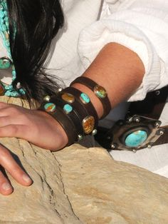 Three Sisters Stackable-turquoise stones on vintage saddle string leather