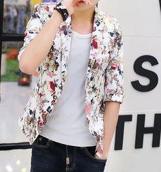 multicolor-light-red-short-sleeve-floral-blazer | www.pilaeo.com #men's #luxury #fashion